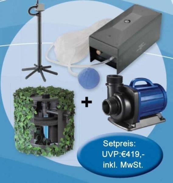 Aquaforte Teich Set 5000 DM-5000 Pumpe mit Pumpenstativ, Undercover Filter 5000, Luftpump