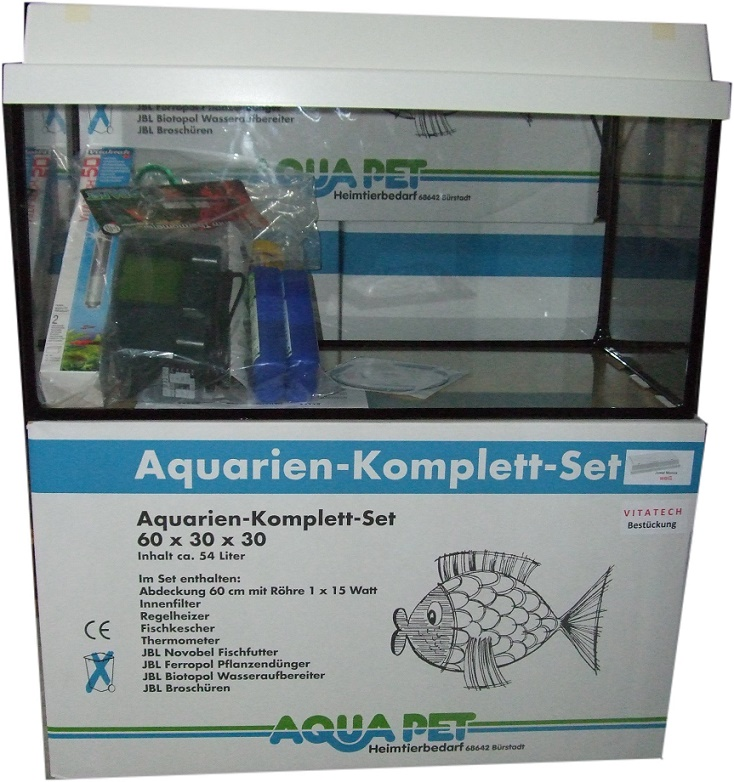 ap aquarien komplett set 60x30x30 cm mit monolux 54 liter standard aquarien sets komplett. Black Bedroom Furniture Sets. Home Design Ideas