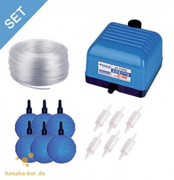 Hailea V-30 Belüftungs - SET - 1800 l/h (Pumpe+Steine+Schlauch+Luftverteiler)