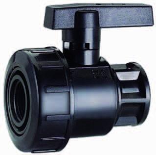 Kugelhahn Kunststoff / schwarz / (1 Zoll IG x 1 Zoll AG)
