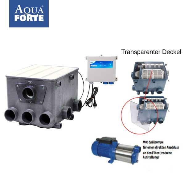 AquaForte Kunststoff ATF-1 Trommelfilter Set incl. Steuerung, transp. Deckel & Spülpumpe