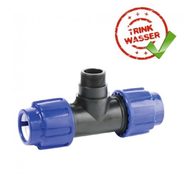 PE Rohr Übergangs-T-Stück 90° Verschraubung mit Au&#946engewinde DVGW - Trinkwasser geeignet