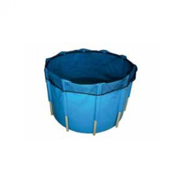 Tripond Faltbecken blau, d: 200cm x H: 120cm mit Abdeckung (schwarz) und Befestigungsanker,ca.3580L
