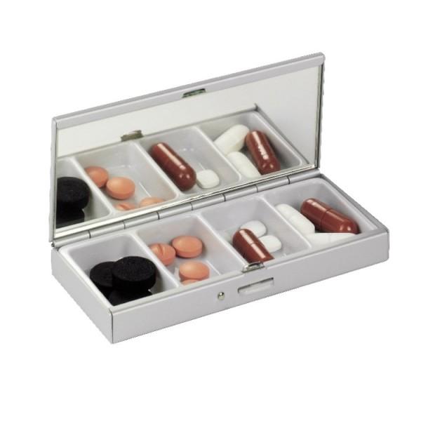 Pillenbox Tablettenbox 4LIFE aus Aluminium - 4 Fächer - mit integriertem Spiegel