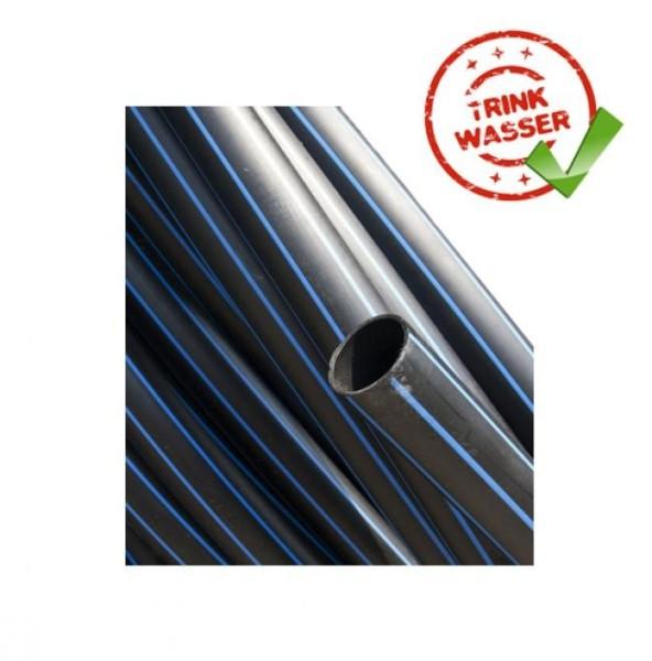 PE - Rohr HD / SDR 11 PN 12,5 / DVGW Trinkwasser / 100 Meter Rolle (schwarz-blau)