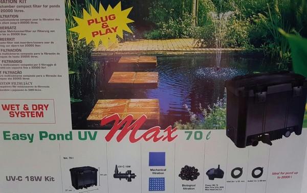 Pondlife Teichaußenfilter Easy Pond Max 20000 Komplettsystem bis 20000 Liter Teichvolumen, UV-C 18 W