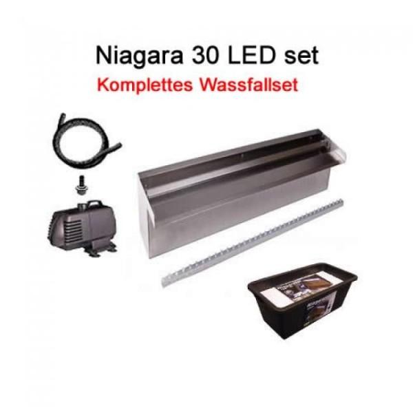 Ubbink Design Wasserfall Niagara LED 30 set, anschlussfertig inkl. Pumpe und Wasserbecken