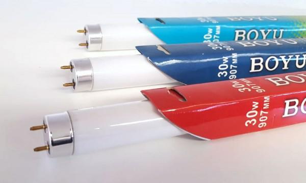 Boyu Set T8 Beleuchtung 3 x Aquarium Leuchtmittel 30 Watt T8, 907mm, rot+blau+weiss