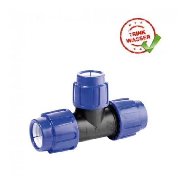 PE Rohr T-Stück 90° reduziert Verschraubung (3 x Klemmvers.) DVGW - Trinkwasser geeignet