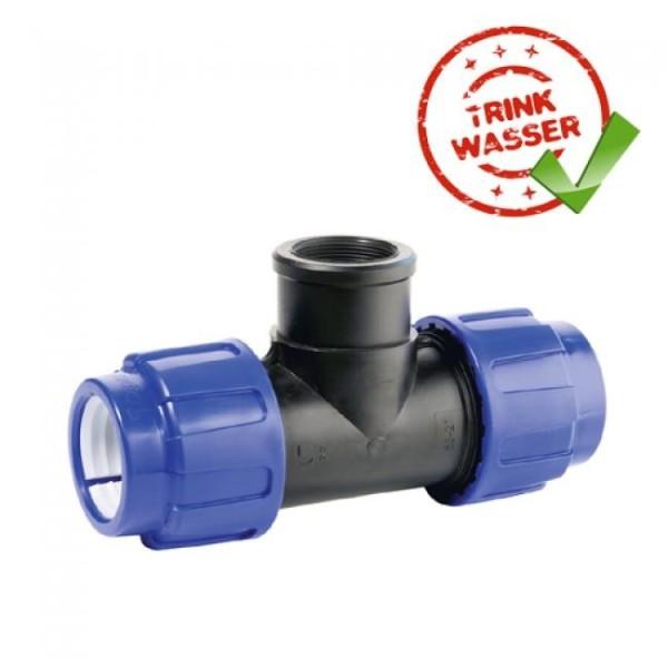 PE Rohr T-Stück 90° Verschraubung (2 x Klemmvers. / 1 x IG) DVGW - Trinkwasser geeignet