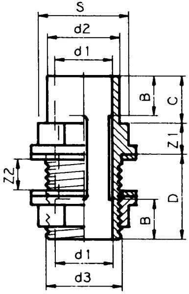 PVC - Durchführung 40x50x1 3/4&quotk