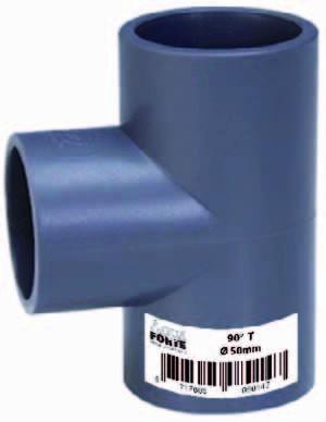 T-Stück 90° 3fach Klebemuffe Ø 50mm ECONO-LINE 10 Bar