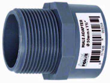 """PVC Übergangsmuffennippel mit Außengewinde 50mm x 1½"""" ECONO-LINE 10 Bar"""