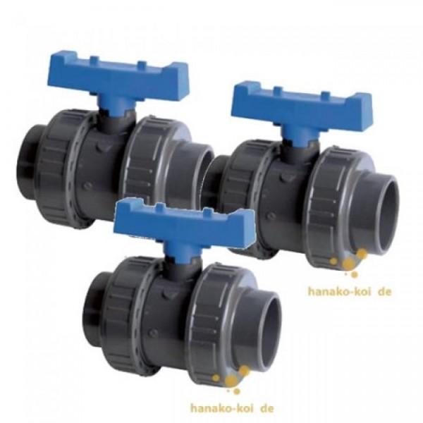 Vorteils-Set / 3 x PVC - Kugelhahn 40mm TP (PN16)2x kleben Teichzubehör PVC und Fittings Schwimmbad