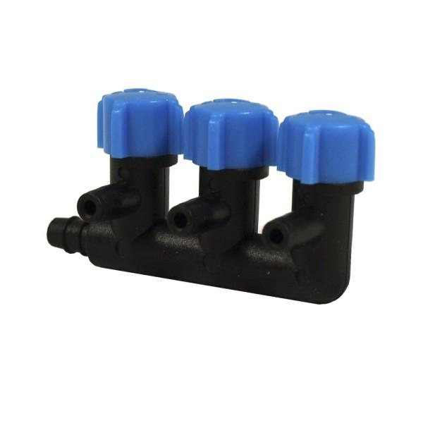 Kunststoff Luftverteiler 3-fach / getrennt regelbare Ausgänge inkl. Anschluss