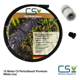 15m CS Perlschlauch Premium mit durchflussreduziertem Schnellschlauchstück und Endstopfen
