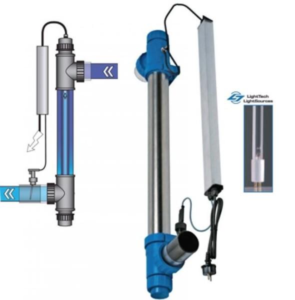 UV-Entkeimungsgerät Blue Lagoon UV-C Amalgam 130W bis 150m³,max. Durchfluss überwachung