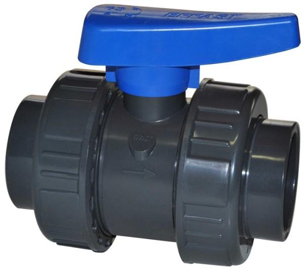 Druck PVC - Kugelhahn 110mm TP (PN16)2x kleben Teichzubehör PVC und Fittings Schwimmbad