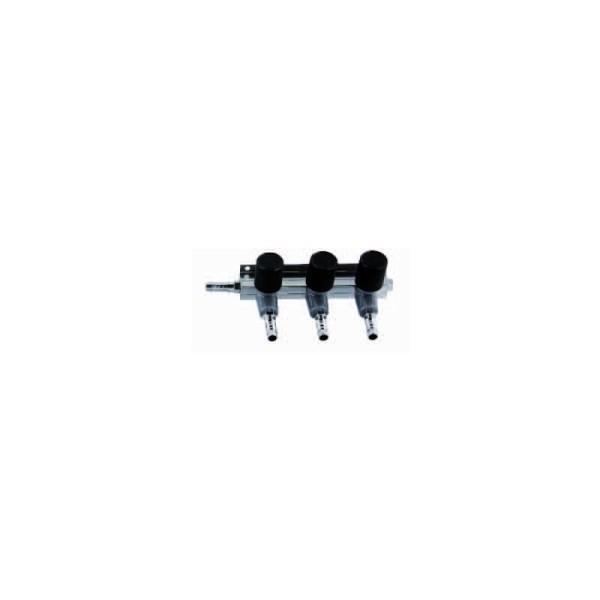 Luftverteiler - 3 x Ausgang mit Hahn 9mm