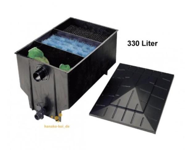 Xclear PE 3-Kammer (330 Liter) Gravity Schwerkraft Teichfilter bis 12000 L mit 11 Watt PL UVC