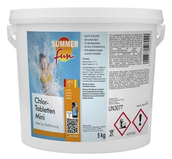 Summer fun Chlor - Tabletten Mini 5 kg Eimer